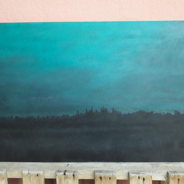 Noční horizont, akryl, sololit 100x60 cm