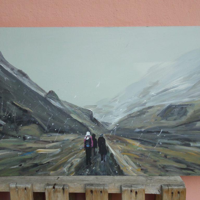 Sněhovou bouří na Islandu, akryl, sololit 100x60 cm