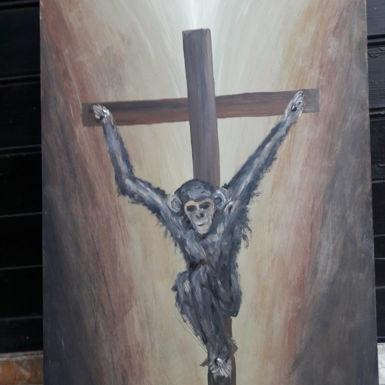 Na kříži, olej na sololitu 90x60 cm