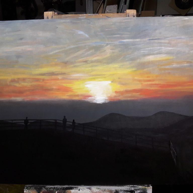 Východ slunce z Lysé hory, akryl na překližce 130x70 cm