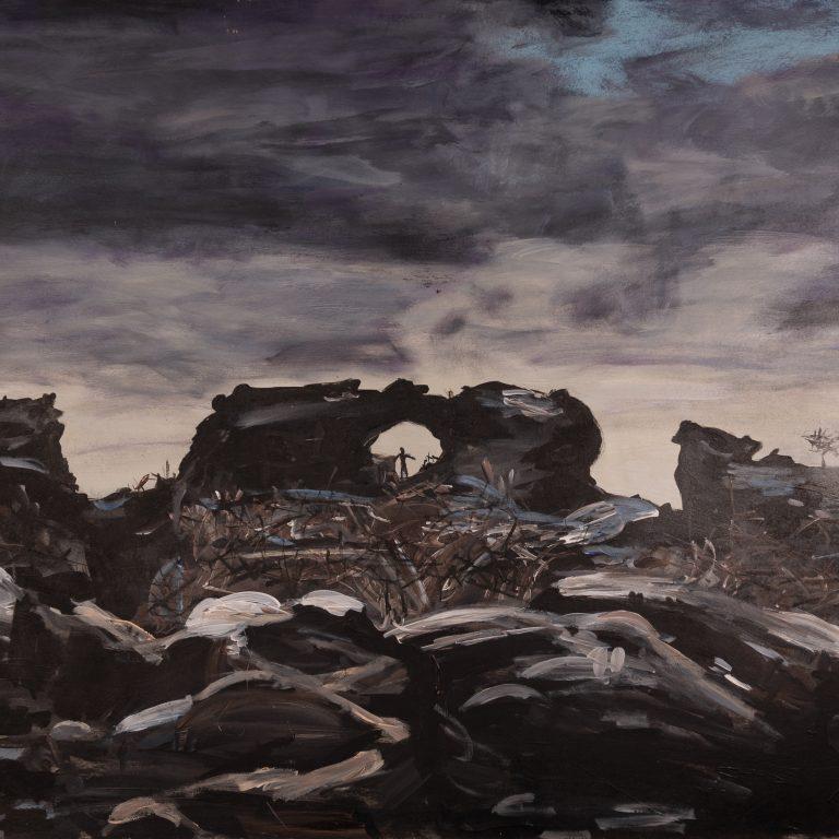 Islandská brána, sololit 100x60 cm, akryl